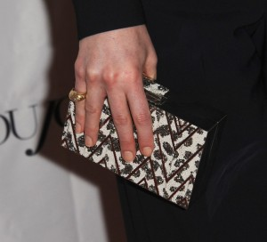 Michelle Dockery GG DuJour clutch